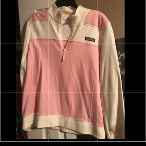 Vineyard Vines Quarter Zip XL Pink & White